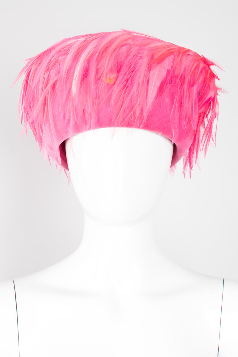 Leslie James Hot Pink Velvet Feather Shacko Pillbox Hat