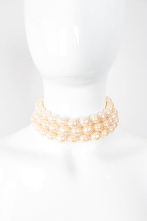 Monet Triple Strand Pearl Choker Necklace