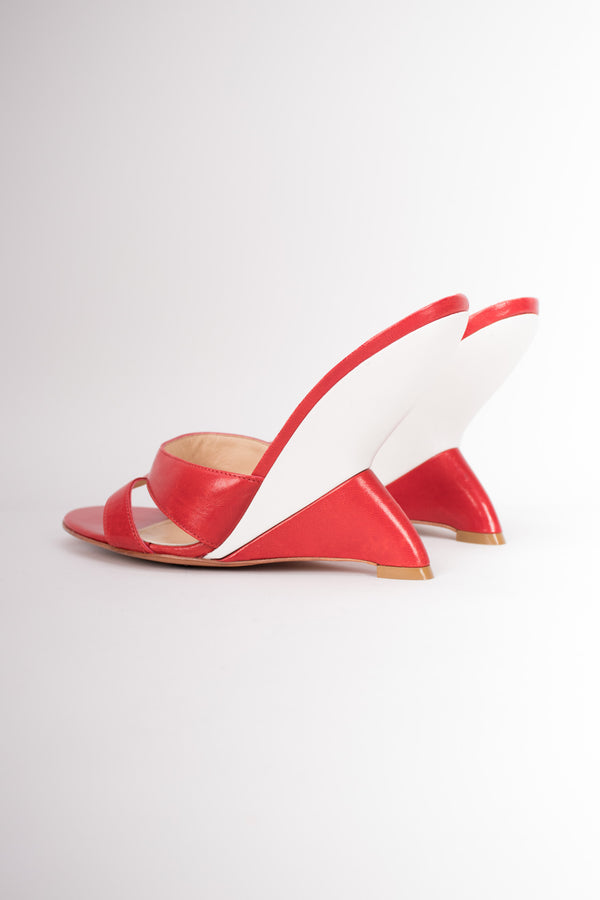 Charles Jourdan Vintage Retro Tailfin Wedge Slide Sandals