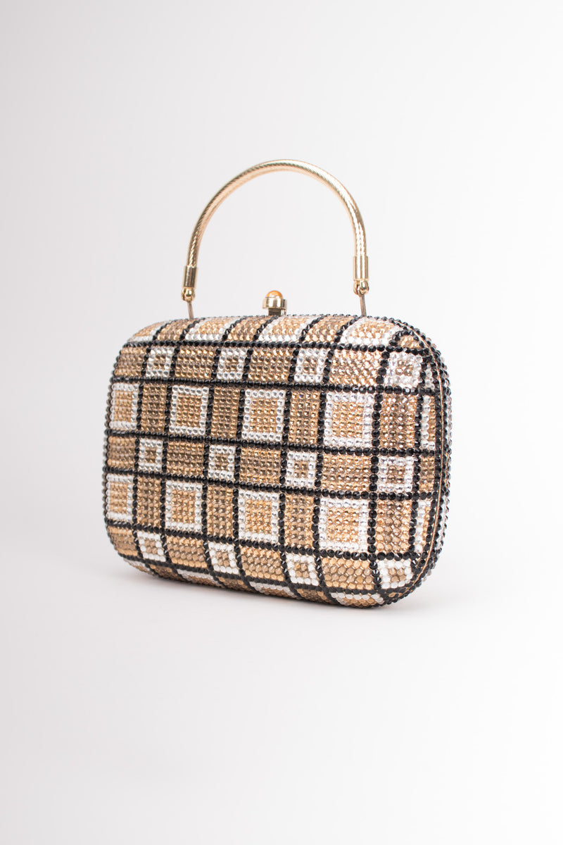 Checkered Rhinestone Vintage Metal Clutch Minaudiere