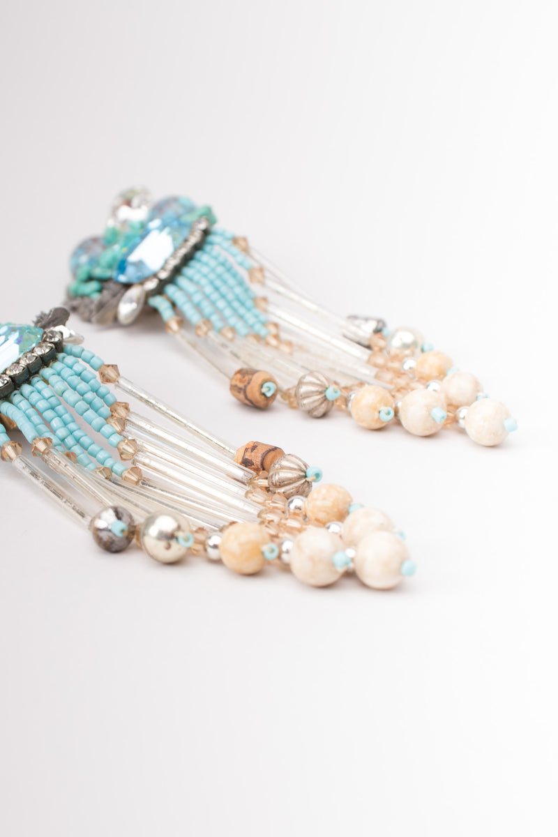 Vintage Turquoise Bead Waterfall Fringe Earrings