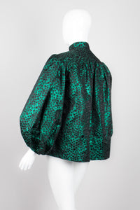 Mr. Blackwell Metallic Brocade Balloon Sleeve Swing Jacket