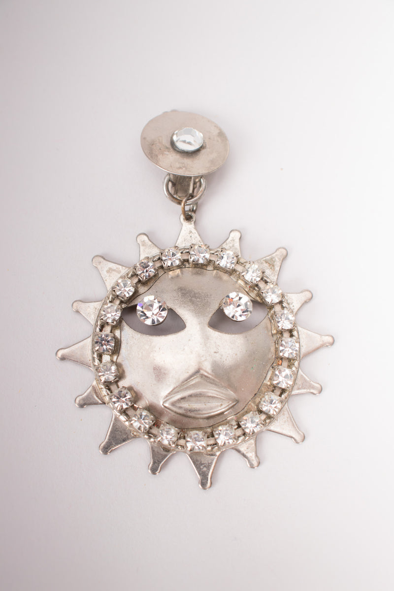Sparkling Silver Celestial Sun Earrings