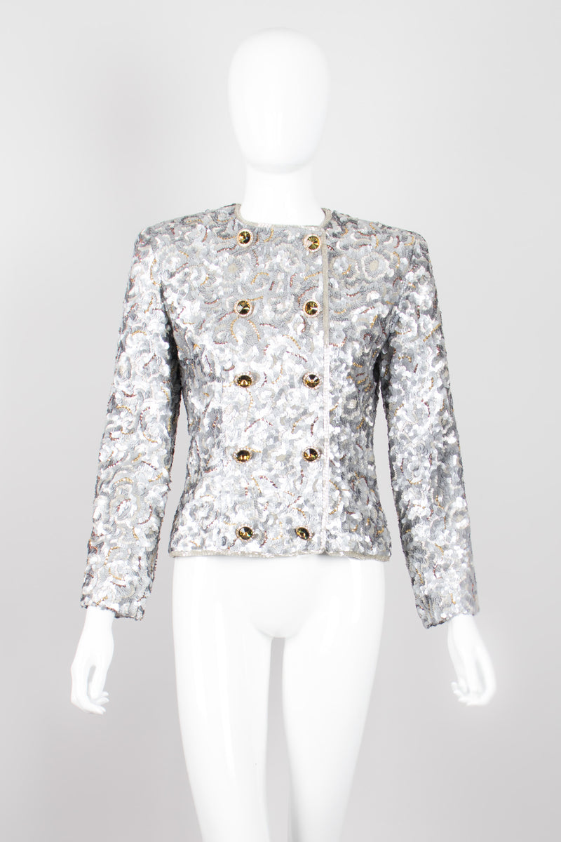 Victor Costa Wavy Embellished Double Breasted Band Jacket