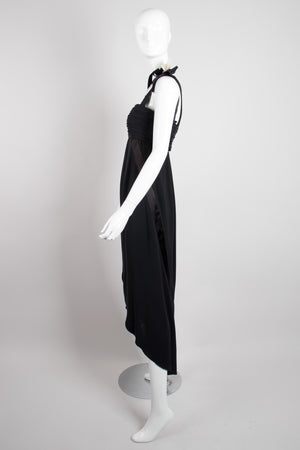 Chanel Empire Asymmetrical Chiffon Camelia Black Tie Dress