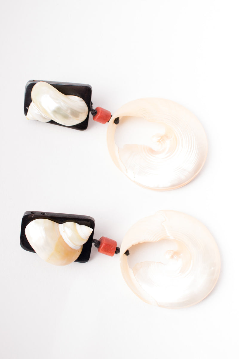 Artisan Oversized Nautilus Shell Slice Earrings