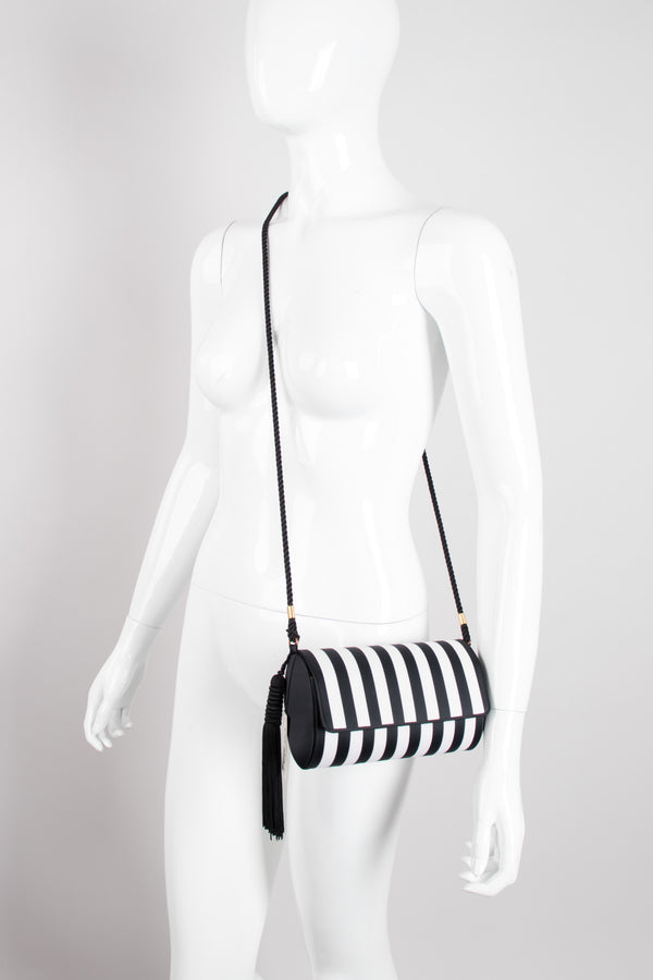 Victor Costa Regency Striped Silk Tassel Crossbody Shoulder Bag