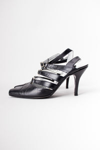 Thierry Mugler Leather Strappy Bondage Buckle Heels