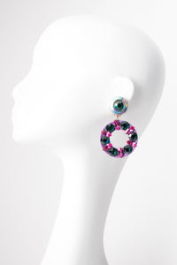Crystal Jeweled Leather Hoop Statement Earrings
