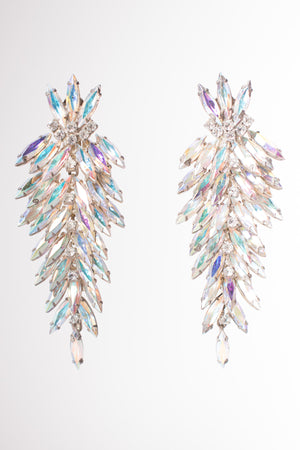 Vintage Iridescent Rainbow Unicorn Crystal Marquise Chandelier Wedding Bridal Earrings