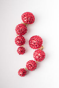 Bellini By Formart Ruby Red Crystal Tiered Ball Drop Earrings