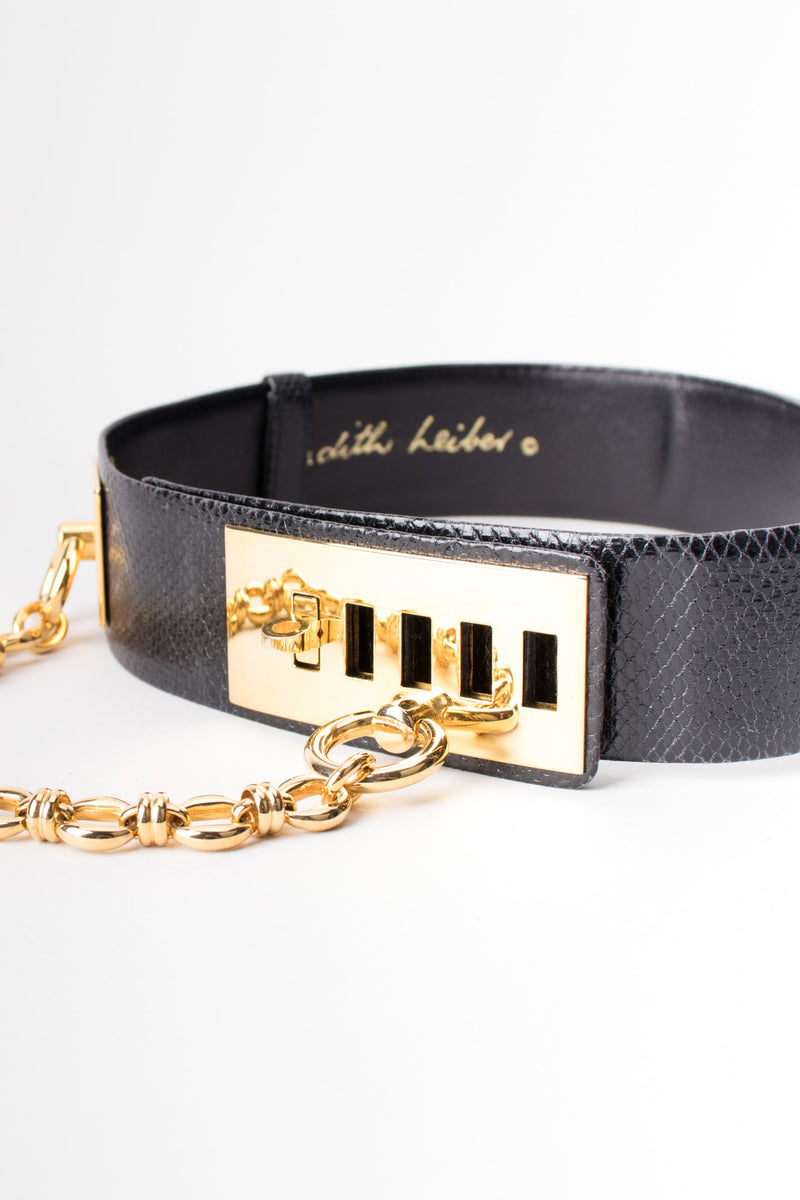 Judith Leibe Lizard Leather Gold Chain Turnlock Bondage Belt