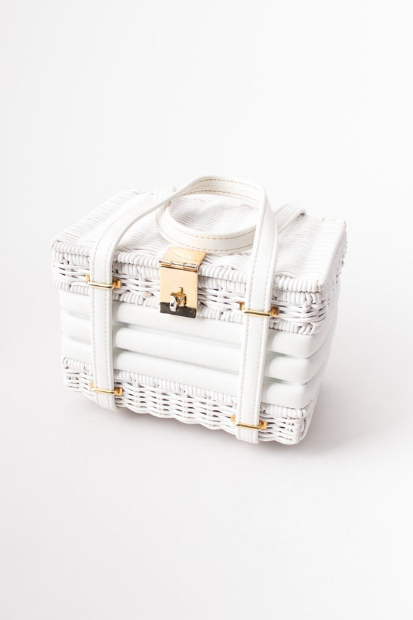 Walborg Vintage White Wicker Basket Box Bag