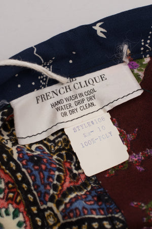 The French Clique Boho Ribbon Trim Stand Collar Patchwork Poncho