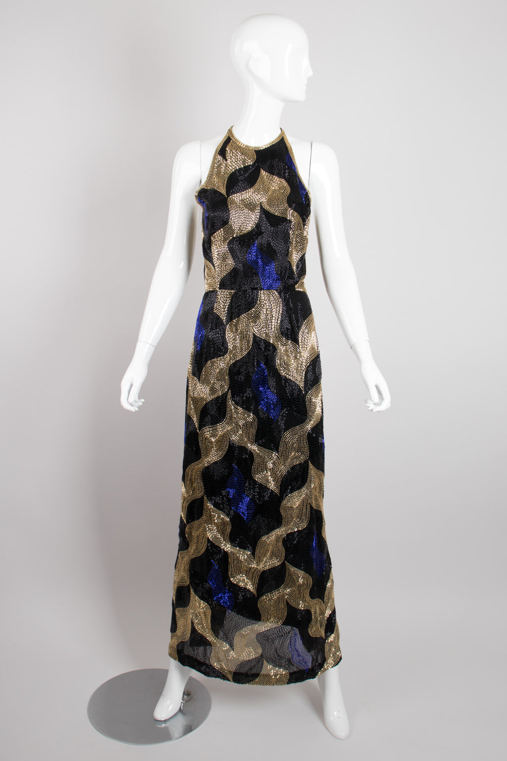 Tracy Mills Vintage Geometric Beaded Halter Gown