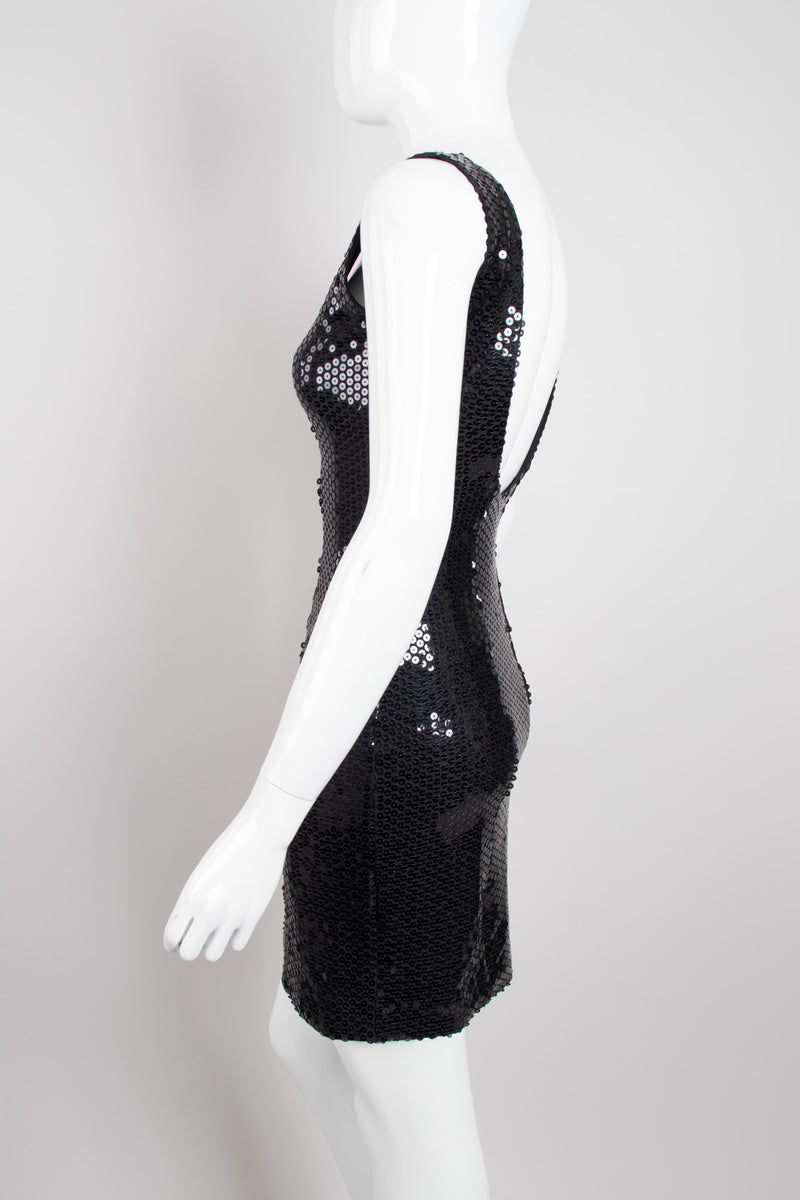 Franck Joseph Bastille Liquid Second Skin Sequin Square Neck Minidress