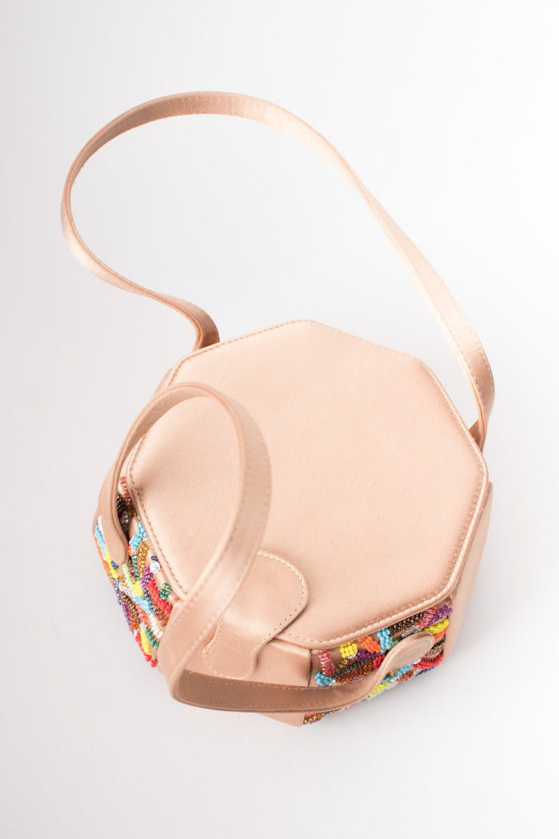 René Caovilla Rainbow Beaded Satin Box Bag