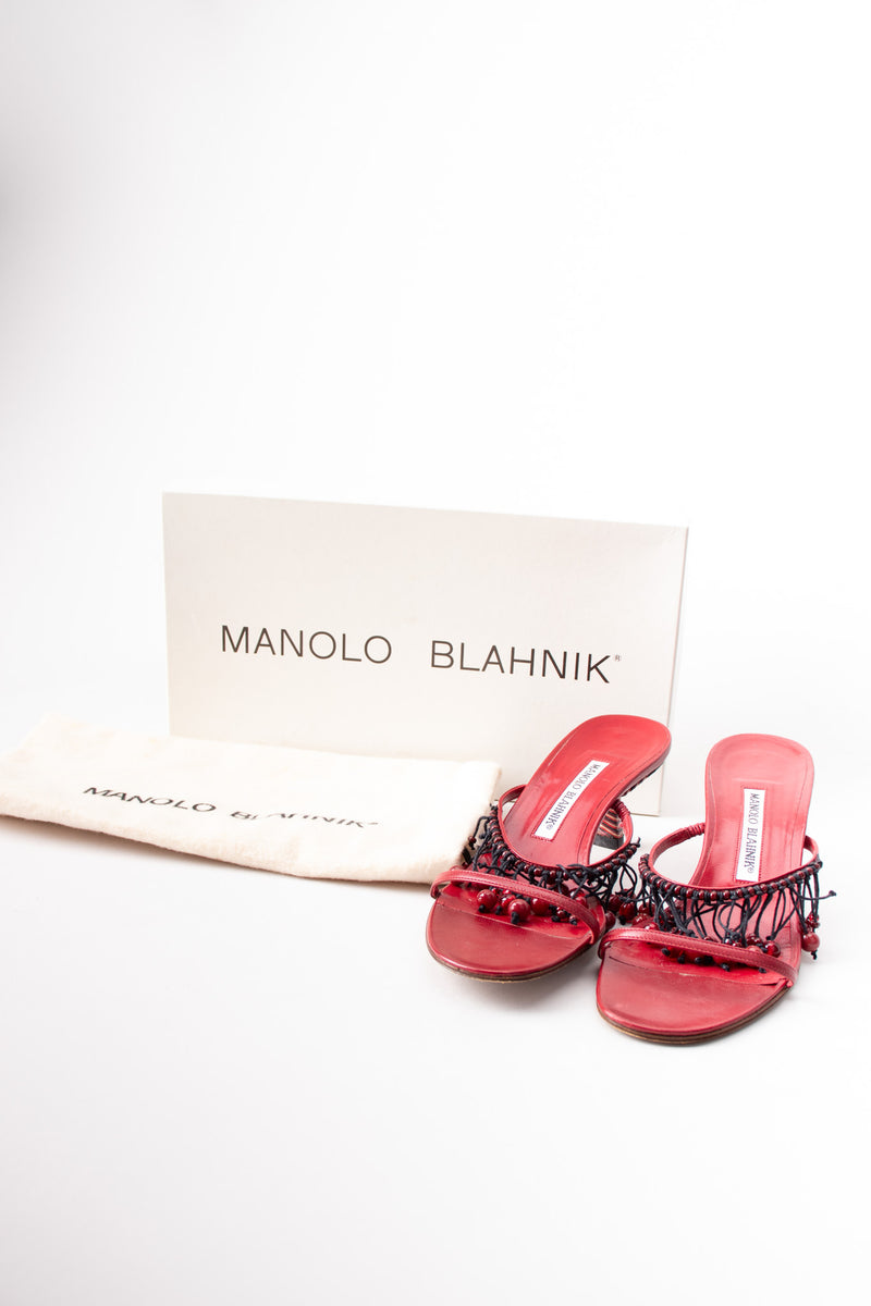 Manolo Blahnik Strappy Currant Berry Fringed Mule Sandals