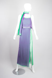 Pauline Trigere Vintage Mermaid Layered Chiffon Top & Skirt Set