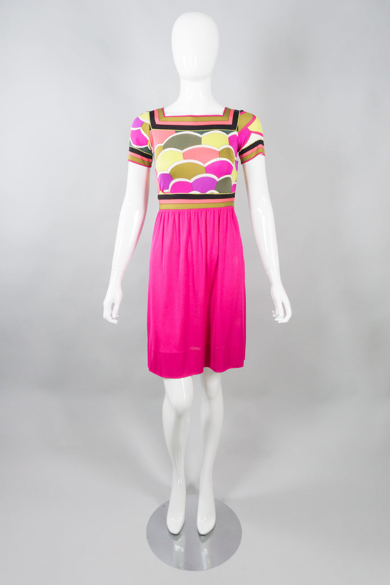 Vintage Emilio Pucci Hot Neon Scallop Print Silk Jersey Dress
