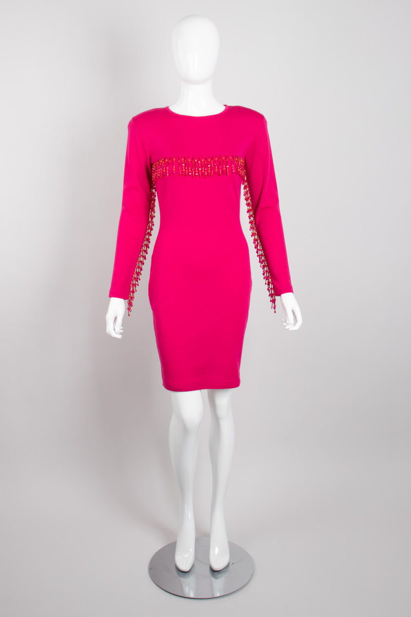 Recess Los Angeles Vintage Andrea Jovine Hot Pink Beaded Fringe Yokea Bodycon Dress