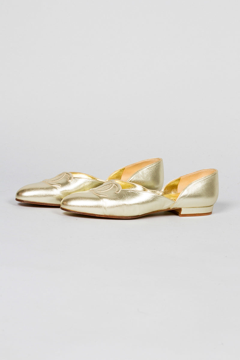 Chanel Gold Lamé Logo Flats Side
