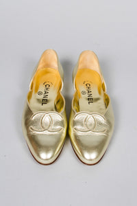 Chanel Gold Lamé Logo Flats Top