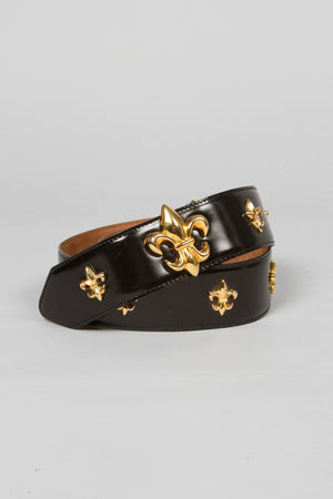 Moschino Leather Fleur De Lys Stud Belt