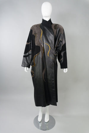 Grunstein Couture Finland Vintage Leather Patchwork Wrap Coat