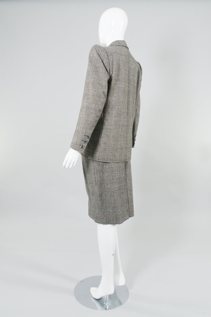 Saint Laurent Rive Gauche Glen Plaid Jacket & Skirt Set