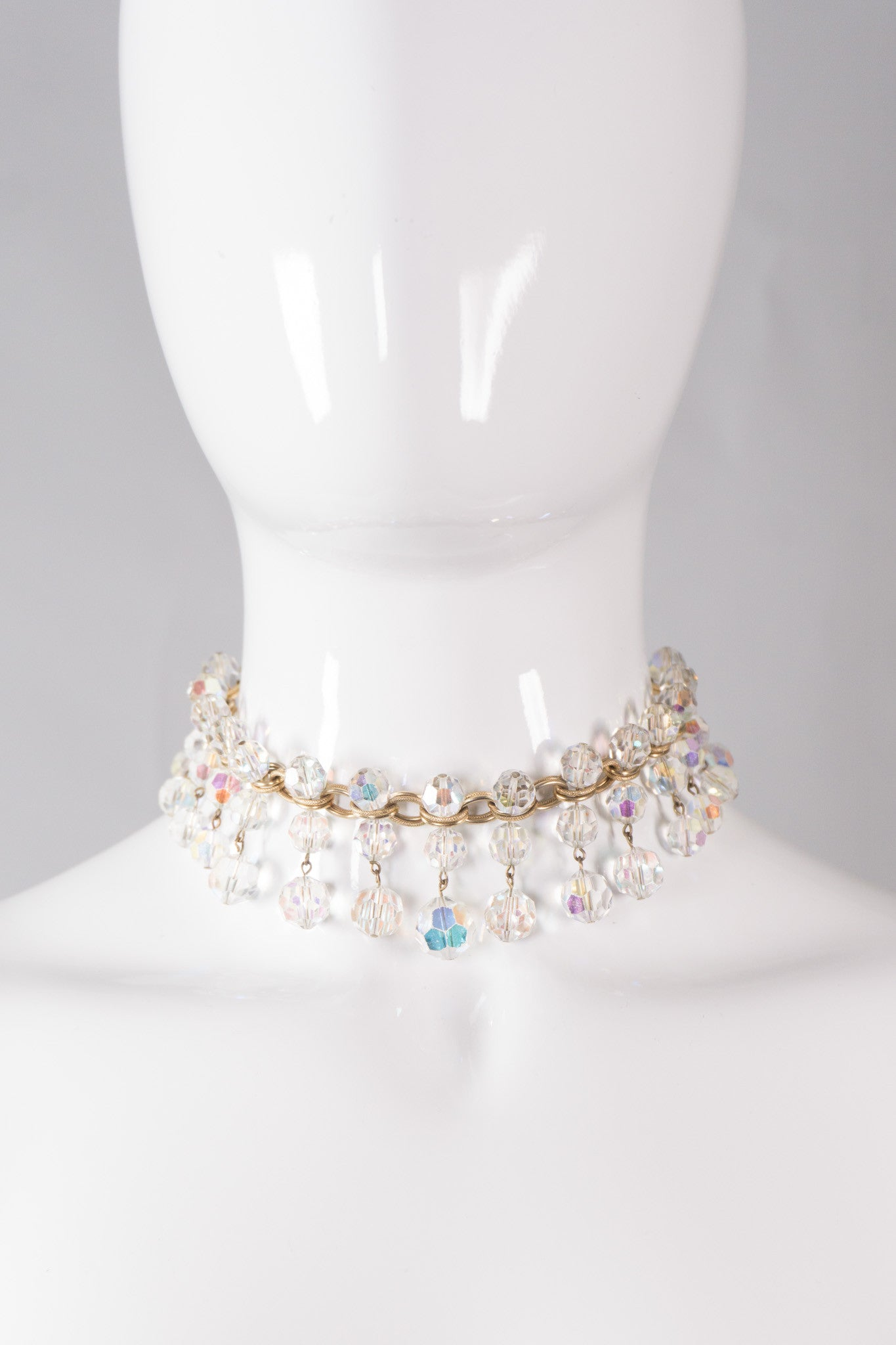 Vintage Unsigned Crystal Fringe Choker Necklace