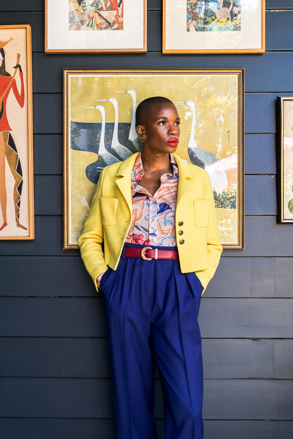 Monica Ahanonu in Vintage Chanel Yellow Basketweave Tweed Shrunken Jacket at Recess Los Angeles