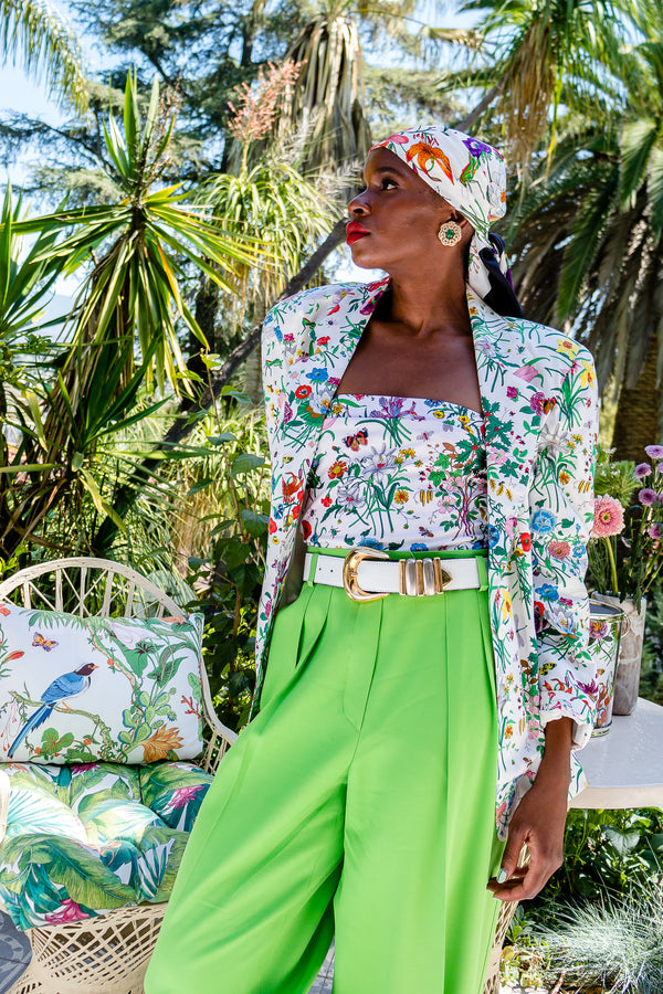 Monica Ahanonu in Vintage Gucci Iconic Flora Print Jacket Swimsuit and Scarf at Recess Los Angeles