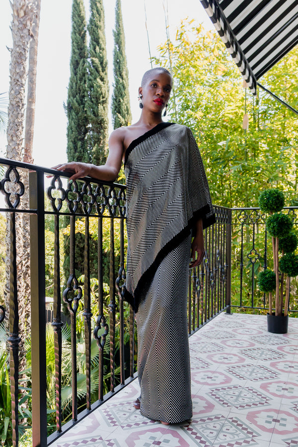 Monica Ahanonu in Vintage Gucci Metallic Silver Stripe Sari Shawl Dress at Recess Los Angeles