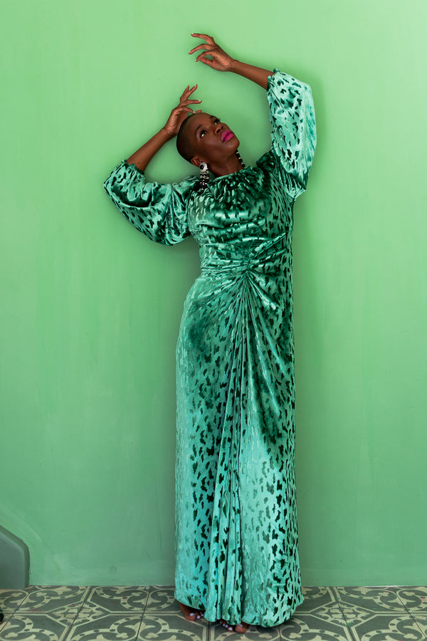 Monica Ahanonu in Vintage Oscar de la Renta Silk Velvet Balloon Sleeve Gown at Recess LA