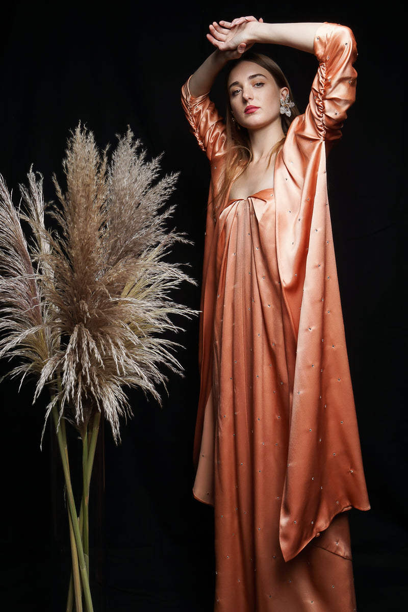 Girl in Vintage Holly's Harp Peach Satin Duster & Dress Set with willows at Recess Los Angeles