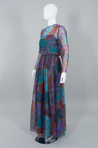 AJ Bari Vintage Sequin Sheer Floral Chiffon Dress