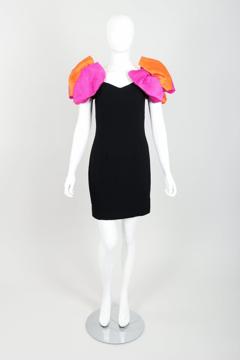 Vintage AJ Bari Tropical Puff Shoulder Dress on Mannequin front at Recess Los Angeles