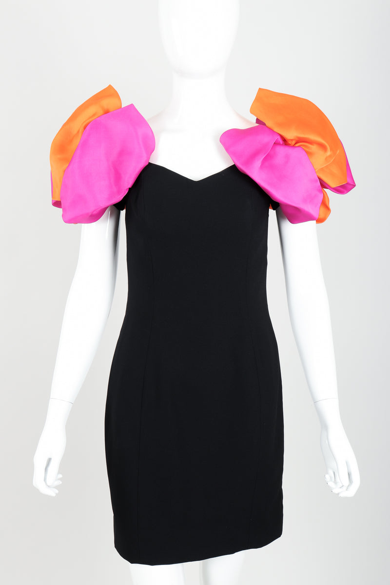 Vintage AJ Bari Tropical Puff Shoulder Dress on Mannequin front crop at Recess Los Angeles