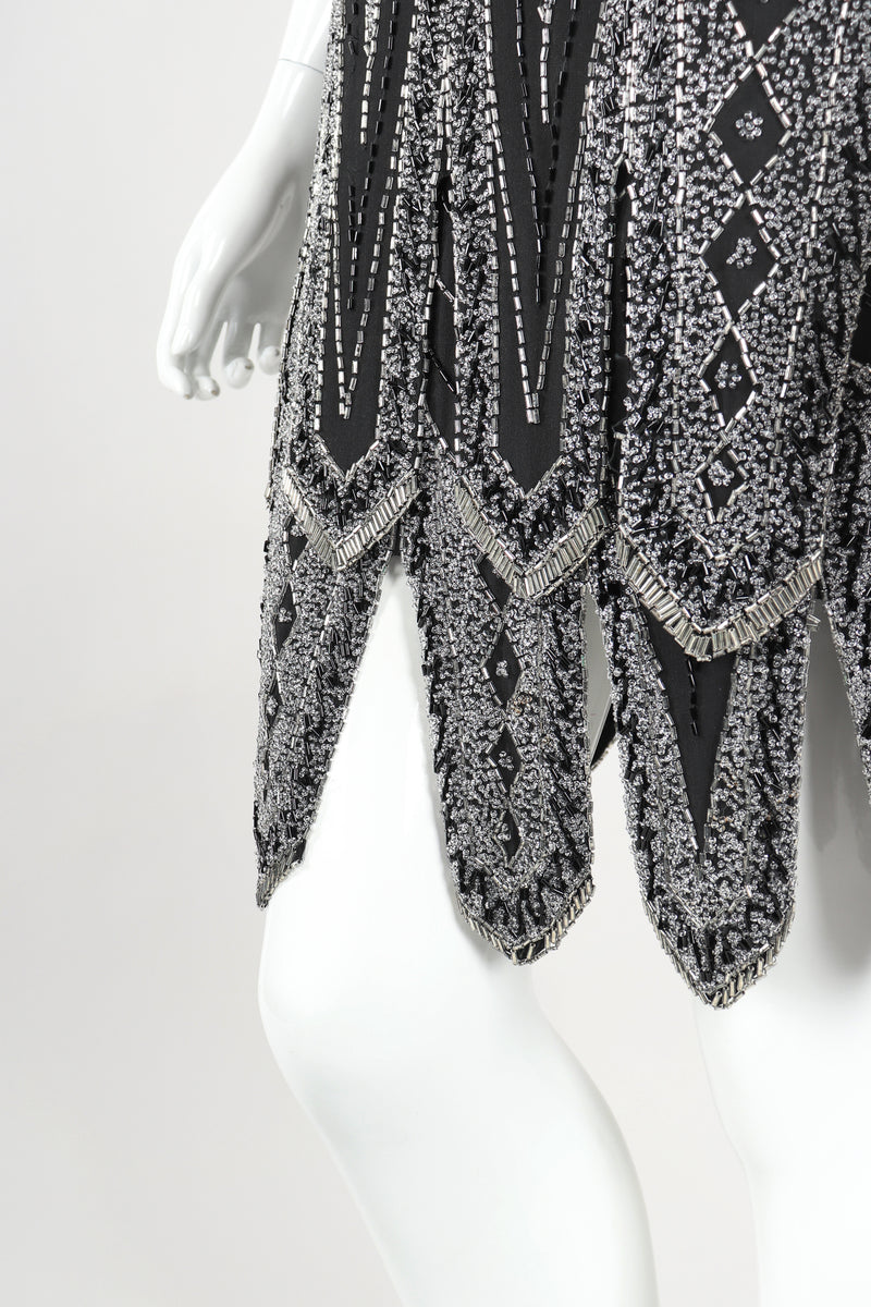 Recess Designer Consignment Vintage Abby Fredelle Deco Beaded Flapper Plunge Back Pointed Hem Carwash Dress Los Angeles Resale
