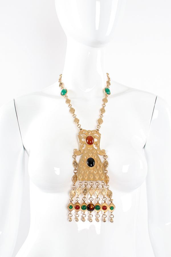 Vintage Accessocraft Gold Byzantine Pendant Plate Necklace on mannequin at Recess Los Angeles