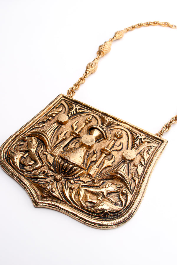 Vintage Accessocraft Brass Gothic Relief Plate Necklace at Recess Los Angeles