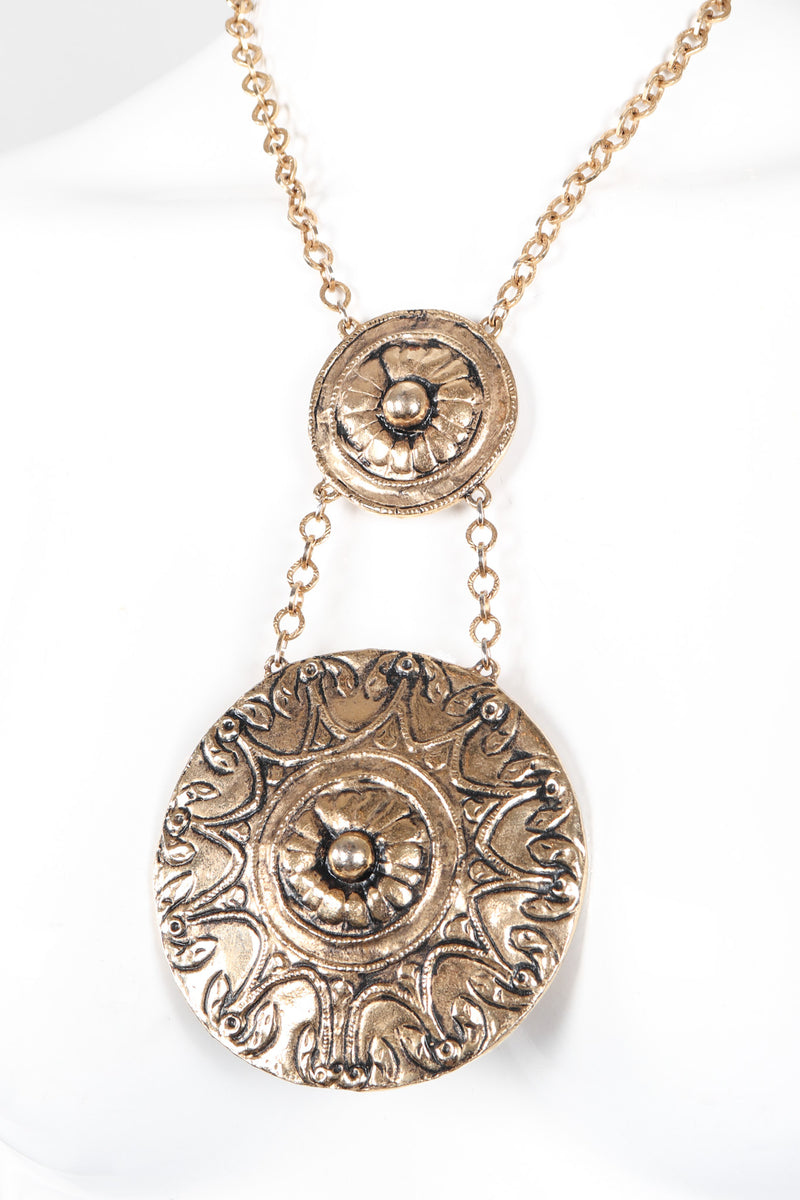 Recess Los Angeles Vintage Accessocraft Mayan Double Medallion Pendant Necklace