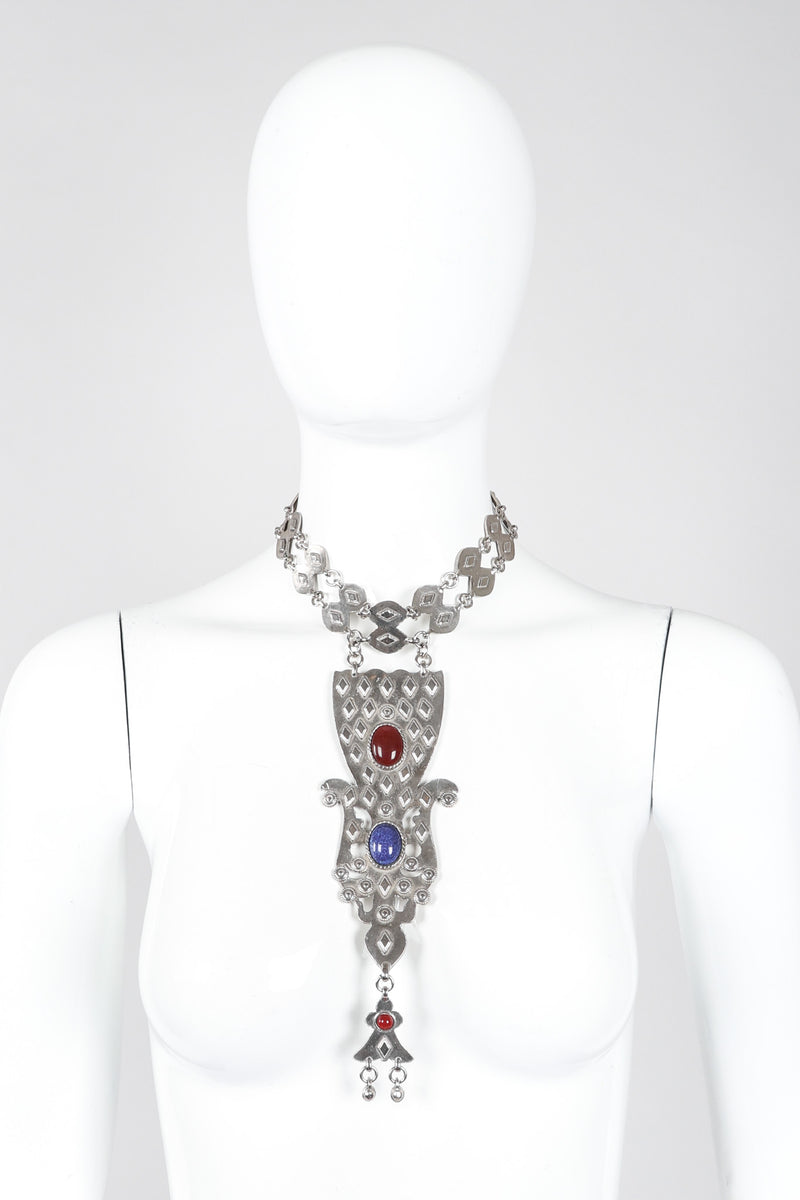 Vintage Accessocraft Antiqued Silver Byzantine Bib Choker Necklace on Mannequin at Recess LA