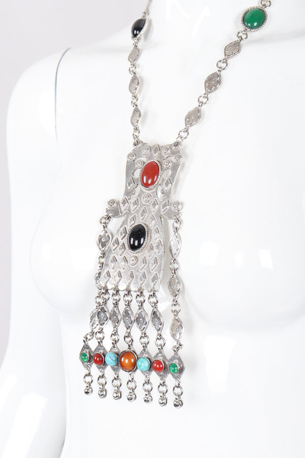 Recess Los Angeles Designer Consignment Resale Recycling Vintage Accessocraft Silver tone Byzantine Pendant Plate Necklace II