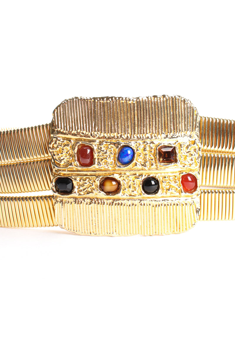 Vintage Accessocraft Gold Fluted Cabochon Buckle Belt detail at Recess Los Angeles
