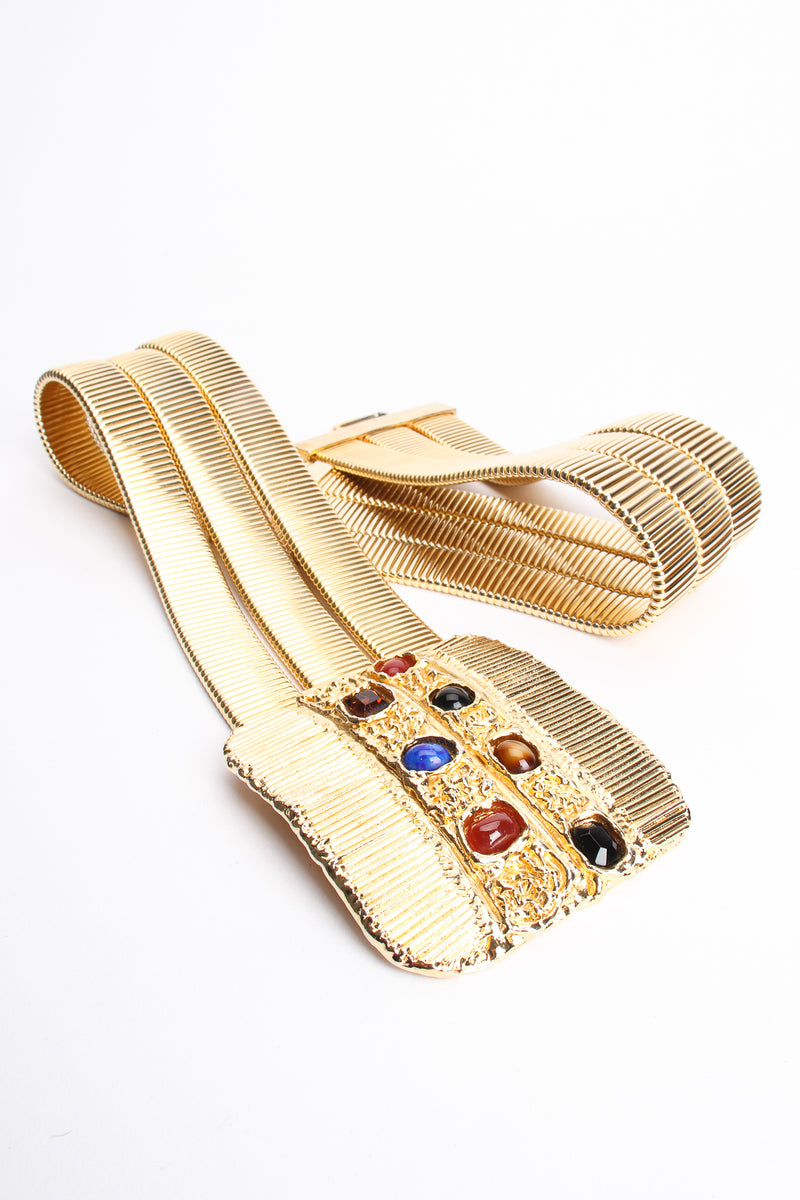 Vintage Accessocraft Gold Fluted Cabochon Buckle Belt at Recess Los Angeles