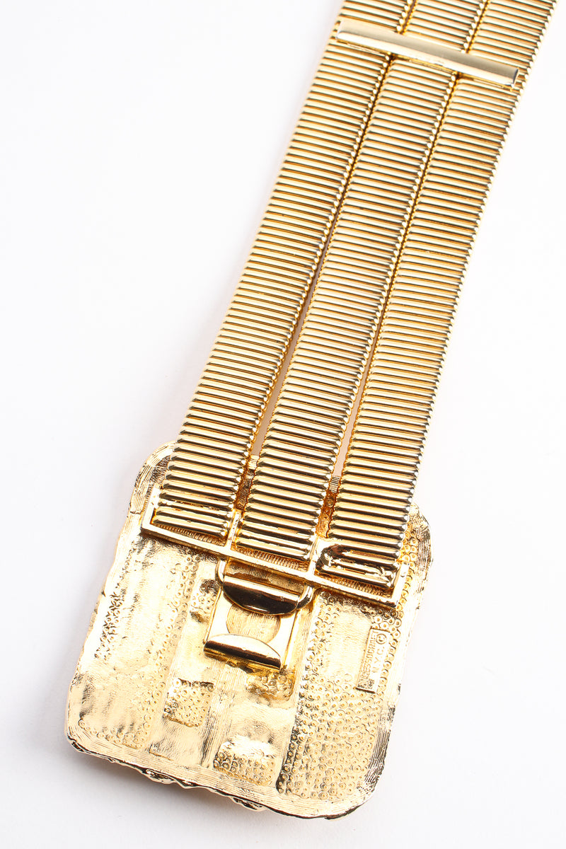 Vintage Accessocraft Gold Fluted Cabochon Buckle Belt backside at Recess Los Angeles