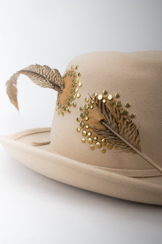 Adolfo II Wool Felt Studded Pierced Feather Hat