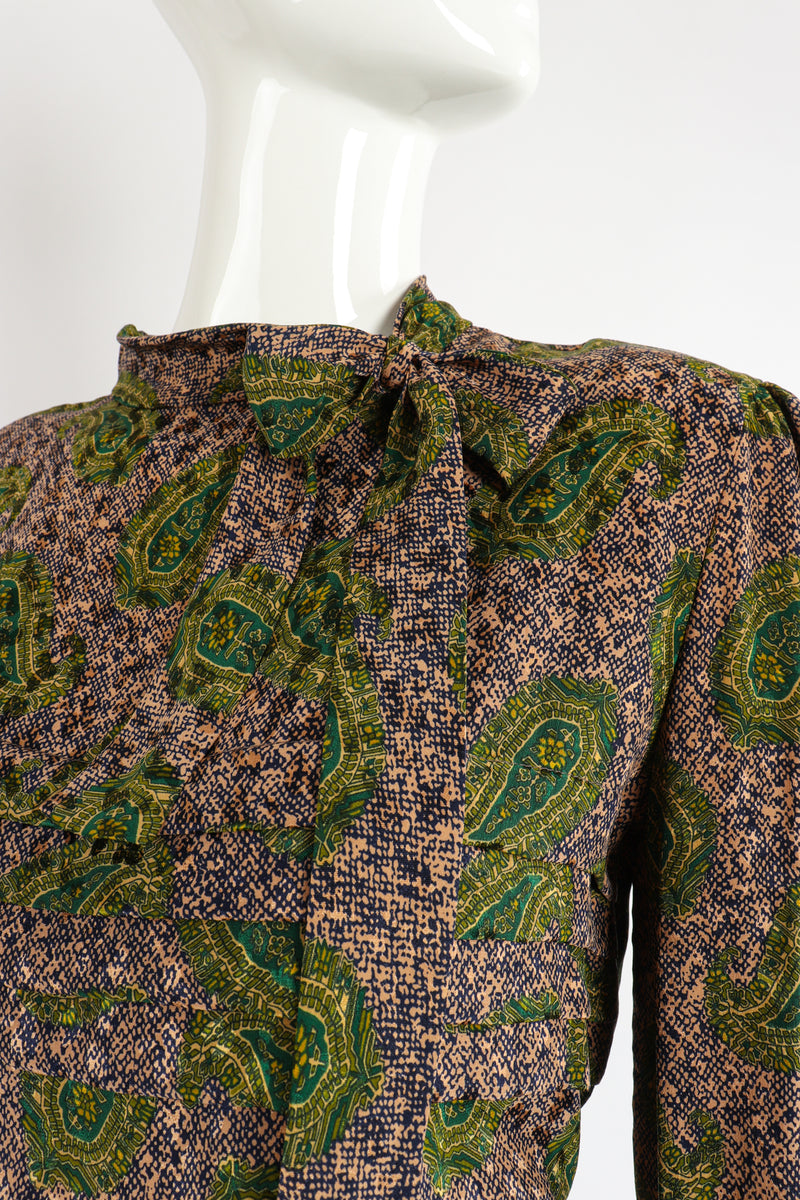 Vintage Adolfo Tossed Paisley Blouse Set Neck detail at Recess Los Angeles